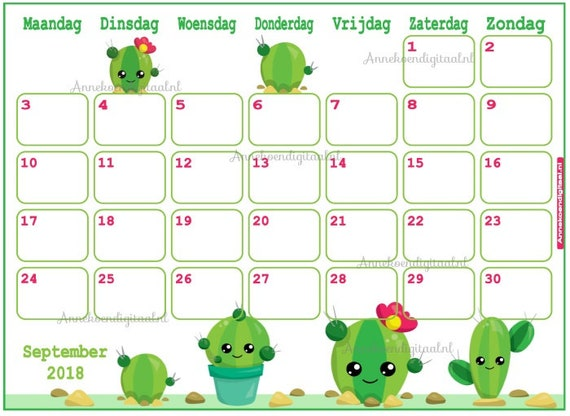 Calendar September 2018 Cute Cactus Planner Printable Cute Etsy
