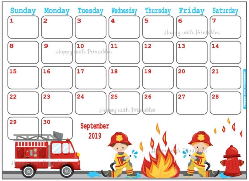 Calendar Planner September 2019.Calendar September 2019 Firemen Planner Printable Cute Planner Boys Theme September 2019 Planner 2019 Calendar Boys Summer