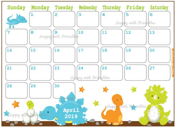 Calendar April 2019 Dino Theme Printable Cute Planner For Etsy