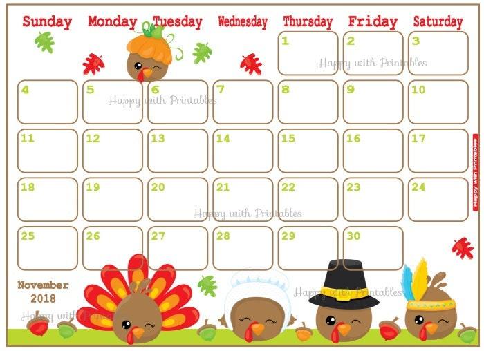 November Calendar Design : Calendar november thanksgiving planner printable etsy