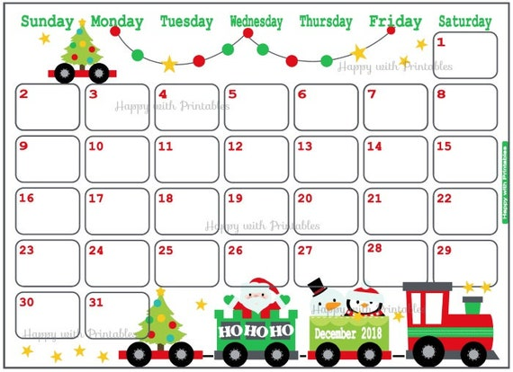 Calendar December 2018 Christmas Planner Printable Cute | Etsy