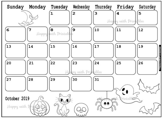 Calendar October 2019 Coloring Page Planner Printable Halloween Bujo Plan Coloring Page Theme October 2019 Planner 2019 Halloween