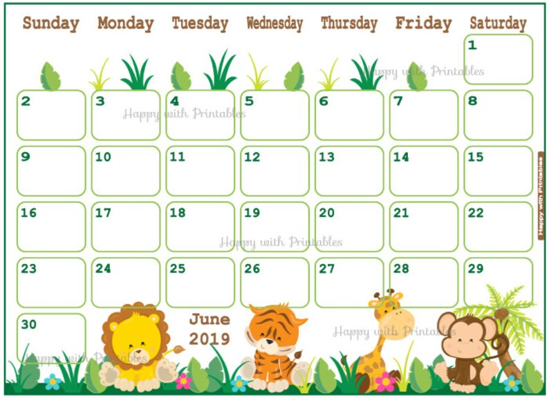 Calendar June 2019 - Summer Planner Printable - Cute Planner for the month  June - BOYS theme - June 2019 Planner - calendar jungle theme