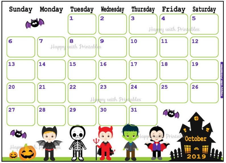 October Calendar 2019.Calendar October 2019 Halloween Planner Printable Cute Planner Boys Theme October 2019 Planner 2019 Calendar Boys Halloween 2019