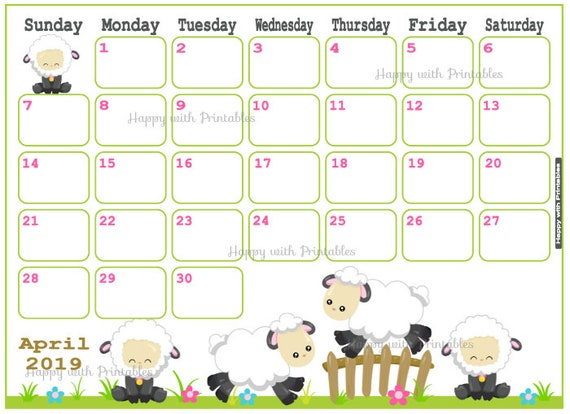 Calendar April 2019 Cute Easter Planner Printable | Etsy