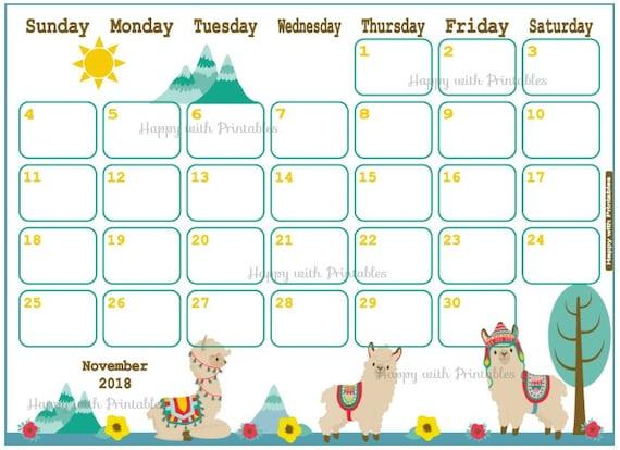 Calendar November 2018 Llama Planner Printable Cute Etsy