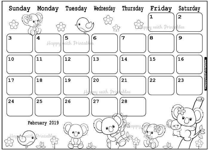 Calendar February 2019 Coloring Page Planner Printable Etsy