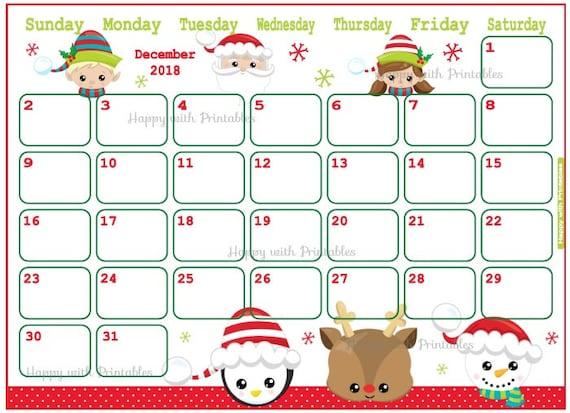 50 Off Calendar December 2018 Cute Christmas Planner Etsy