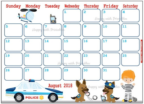 Calendar August 2018 Police Theme Printable Cute Planner Etsy