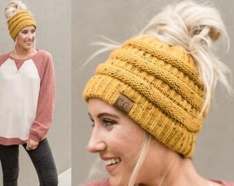Messy Bun Beanie - Ponytail Beanie - Messy Bun Hat - Bun Beanie -  Personalized Winter Hat - Custom CC Beanie Hat - Top Knot Beanie d37a6b5dc7e