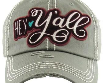 c2ae1af5868 Velvet  HEY Y all  Washed Vintage Premium Cotton Cap