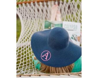 b8c1b7de017ce2 Monogrammed Floppy Hat for Women - Personalized Derby Hat - Monogram Straw Beach  Hat - Honeymoon Gift - Custom Bridesmaid Gift