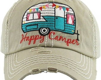 e7c03624c6fa Happy Camper Washed Vintage Premium Cotton Hat, Custom Embroidered Monogram  Hat, Personalized Baseball Cap Gift for Women