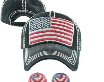 ff81604de5a American Flag Distressed Baseball Cap - Fourth of July America Hat -  Memorial Day or 4th of July Hat