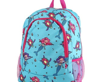 Mermaid Backpack,Personalized Backpack, monogrammed backpack, back to school, school bag, girls backpack, kids backpack, gift for her
