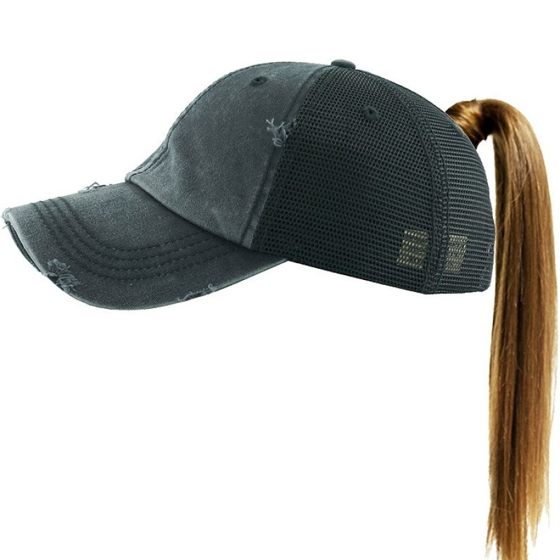 da7abb09f4f Monogrammed Ponytail Hat Distressed Washed Cotton
