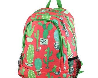 Cactus Backpack,Personalized Backpack, monogrammed backpack, back to school, school bag, girls backpack, kids backpack, gift for her