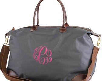 Monogrammed Nylon Duffle Bag, Monogram Duffle, Monogram Weekender, Weekender Bag, Nylon Bag, Monogrammed Carry on, Overnight Bag