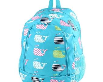 Whale Backpack,Personalized Backpack, monogrammed backpack, back to school, school bag, girls backpack, kids backpack, gift for her