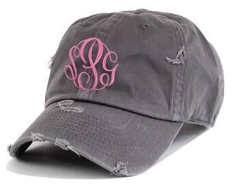 Premium Distressed Cotton Cap,monogrammed hat,monogrammed cap,womens hat,personalized hat,embroidered hat,baseball hat,monogram gift