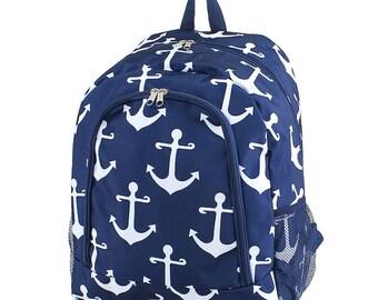 Anchor Backpack,Personalized Backpack, monogrammed backpack, back to school, school bag, girls backpack, kids backpack, gift for her