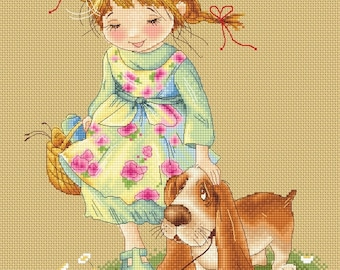 Good Boy - Katerina Babok Girls Cross Stitch and Needlepoint Chart Pattern
