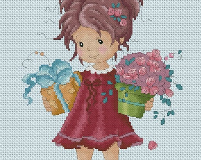 DISCONTINUED Presents by Sylvia Zet  - Cross Stitch Needlepoint Chart Pattern