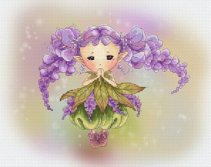 Cross stitch Chart Pattern Flower Sprites -  Wisteria Sprite