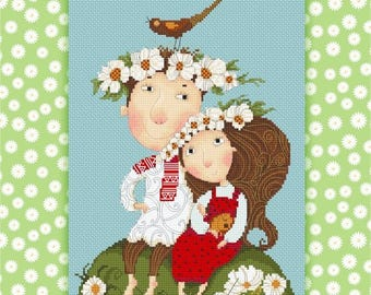 Sasha and Masha  Cross Stitch Chart Pattern by Tatiana Betehtina