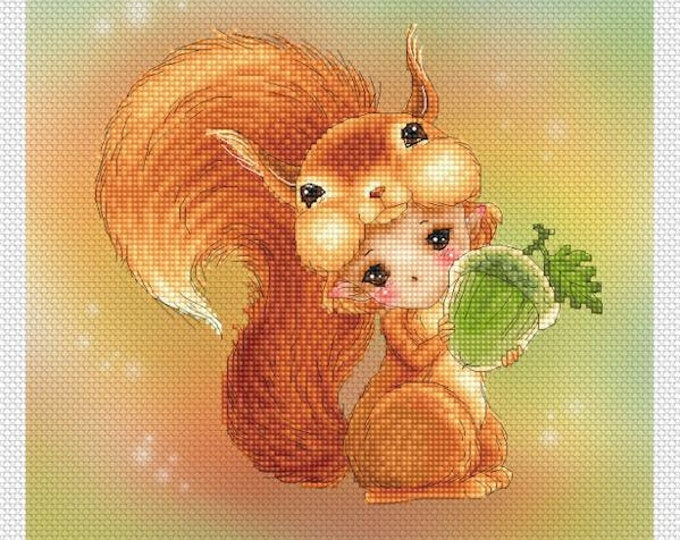Squirrel Baby Mitzi Sato-Wiuff - Cross stitch Chart Pattern