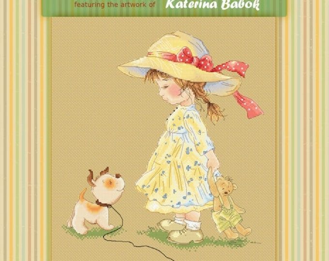 Come with me - Katerina Babok Girls Cross Stitch and Needlepoint Chart Pattern