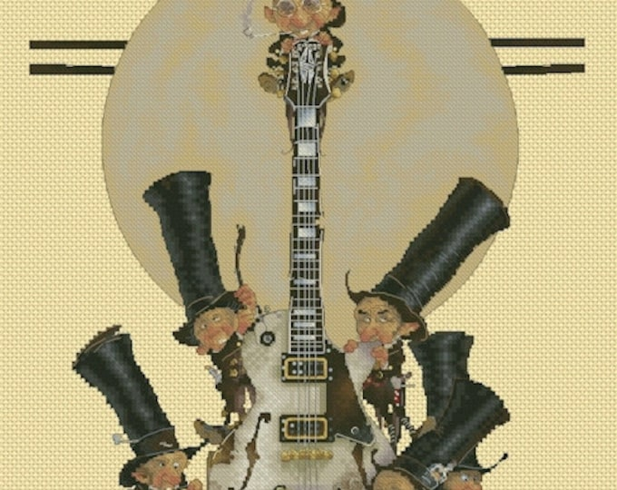 Cross Stitch Chart Gnomes Musicians Guitar by Jean-Baptiste Monge