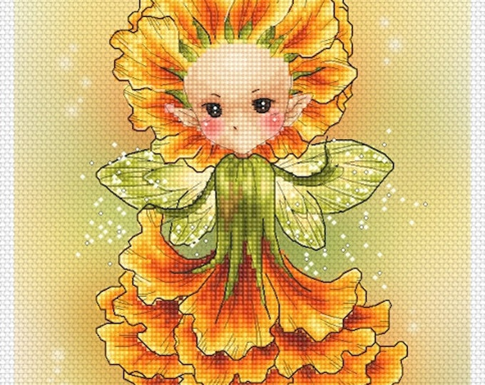 Cross stitch Chart Pattern Flower Sprites - Marigold Sprite