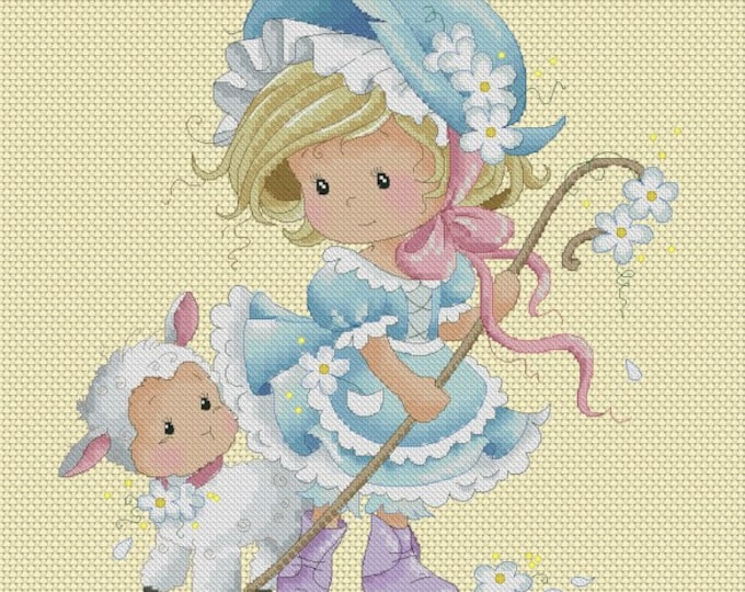 DISCONTINUED Mary's Little Lamb Chat by Sylvia Zet  - Cross Stitch Needlepoint Chart Pattern