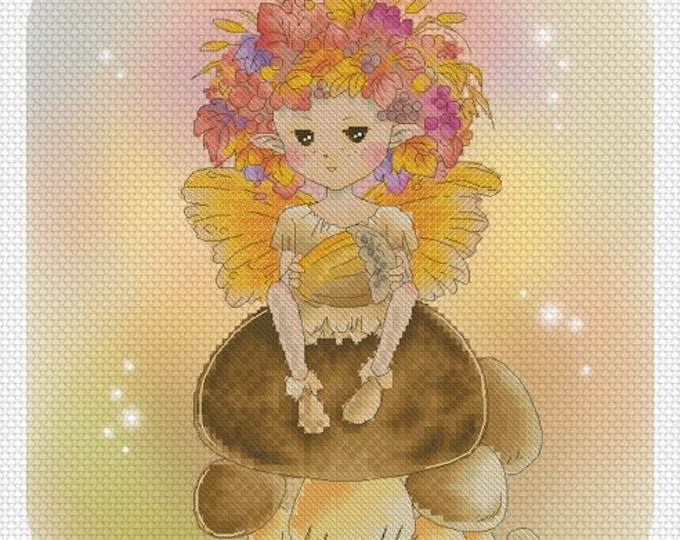 Autumn Fae Sprite Mitzi Sato-Wiuff - Cross stitch Chart Pattern