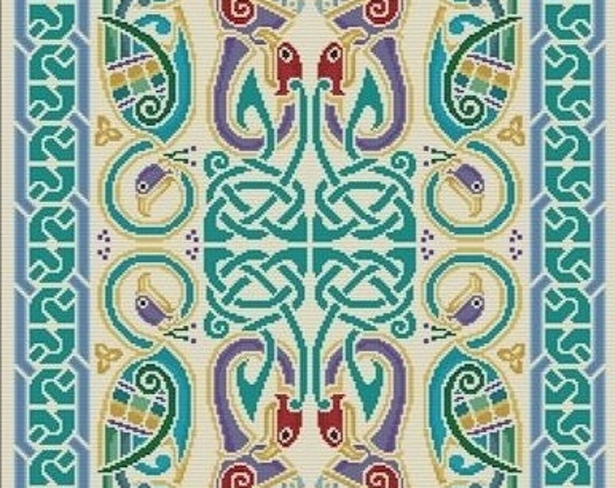 Needlepoint and Cross Stitch Celtic Peacocks Rug Tapestry Cari Buziak