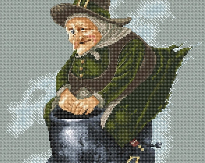 Cross Stitch Chart Witch on Cauldron  by Jean-Baptiste Monge