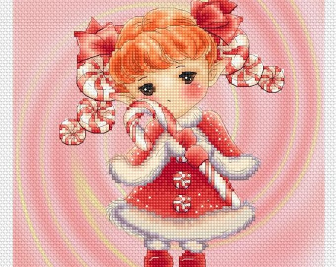 Christmas Mints Sprite Mitzi Sato-Wiuff - Cross stitch Chart Pattern