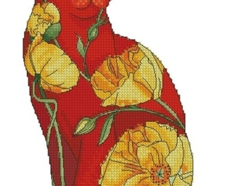Cross Stitch Needlepoint Chart Californian Poppy Flower Cat by Myrea Pettit