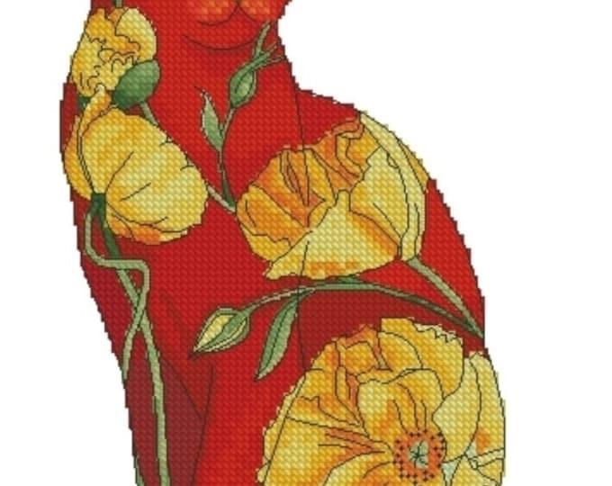 Cross Stitch Needlepoint Chart Californian Poppy Flower Cat by Myrea Pettit