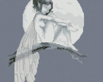 Cross Stitch Chart Pascal Moguerou Moonlight Fairy Fantasy Art