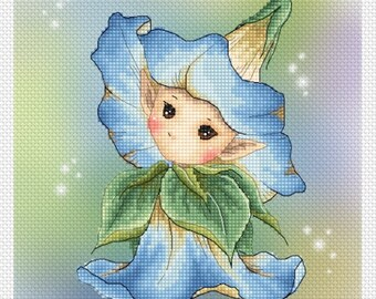 Morning Glory Sprite Mitzi Sato-Wiuff - Cross stitch Chart Pattern
