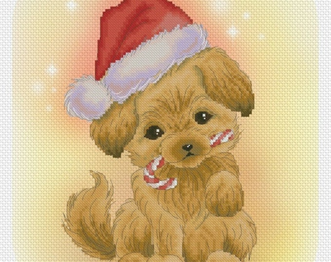 Christmas Puppy Cross stitch Chart Pattern Flower Sprites Mitzi Sato-Wiuff Lena Lawson