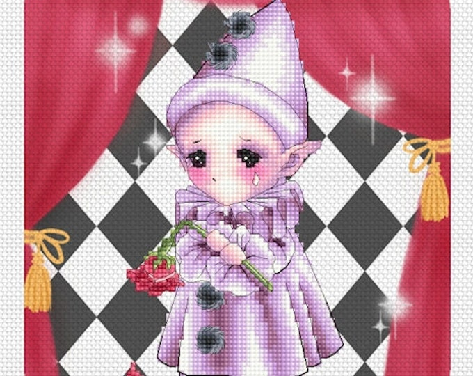 Pierrot Clown Sprite - Art of Mitzi Sato-Wiuff - Cross stitch Chart Pattern