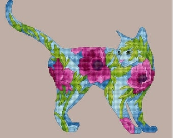 Counted Cross Stitch Needlepoint Chart Blue Cat with Pink Poppies by Myrea Pettit