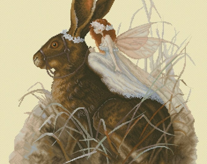 Cross Stitch Chart Fairy on Hare by Pascal Moguerou Fantasy Art