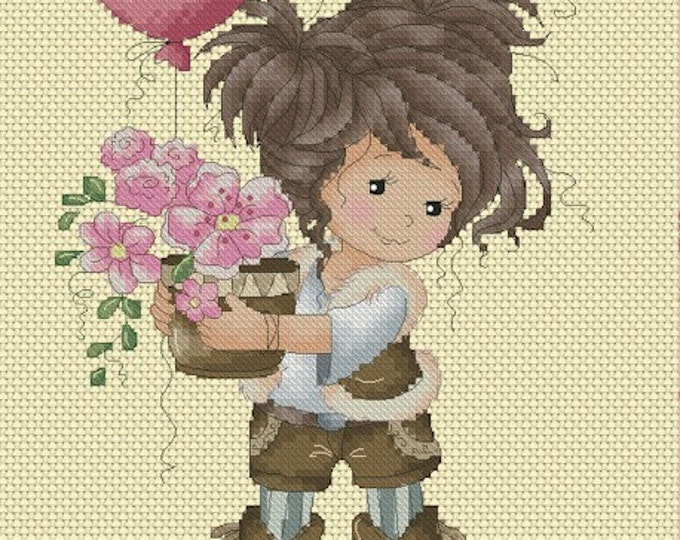 Flowers for my Valentine by Sylvia Zet  - Cross Stitch Needlepoint Chart Pattern