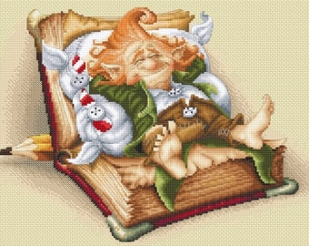 Cross Stitch Chart Gnome's Book Nap by Pascal Moguerou Fantasy Art