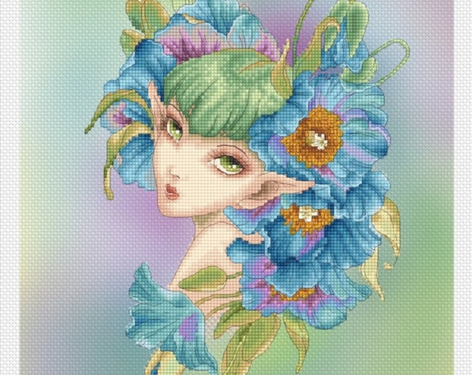 Blue Poppy by Mitzi Sato-Wiuff - Cross stitch Chart Pattern