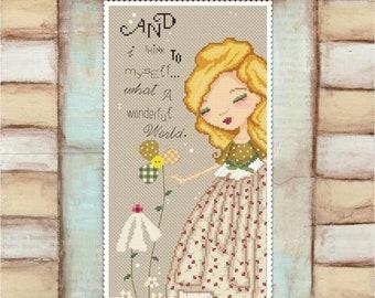 Wonderful World - art of Diane Duda - Cross stitch chart pattern -Lena Lawson Needlearts